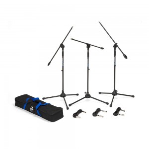 Samson BL3VP 3-Pack Microphone Boom Stand with Carrying Case